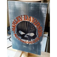 plaque harley davidson decorative en bois