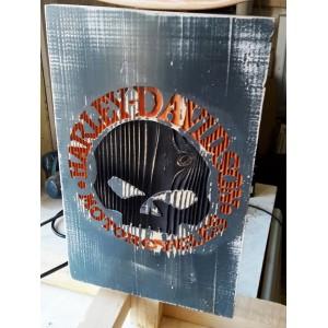 plaque harley davidson decorative en bois